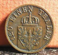 Better Grade 1870 C German State Prussia 3 Pfennig Coin KM# 482
