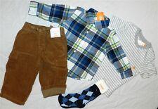 Pant Set Gymboree 5pc Brown Flannel Plaid Shirt Boys size 12/18 month New