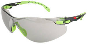 3M Solus Safety Glasses with Green Temples and Indoor/Outdoor Gray Anti-Fog Lens