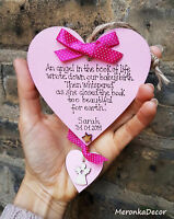 Baby Memorial Angel heart- funeral-Child Indoor Ornament- Personalised Plaque