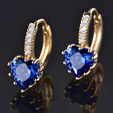 Heart Huggie Ocean Blue Crystal Rhinestone Gold Filled Women Lady Hoop Earrings