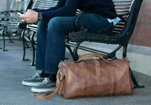 Leather Overnight Bag Travel Duffle Gym Men Weekend Vintage Genuine Mens Luggage
