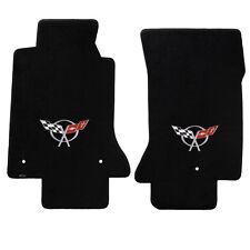 Black Loop Front Carpet Floor Mats (Corvette 97-04) *C5 Logo 2 piece set