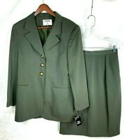 NWT Kasper for ASL Womens Loden Green Polyester & Rayon Skirt Suit Sz 12