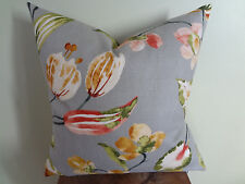 Decorative Pillow Cover Grey Green Red Brown Large Floral Pattern
