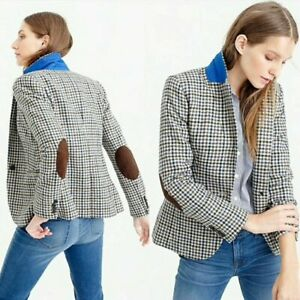 J. Crew Campbell Blazer Jacket Houndstooth Moon Tweed Wool Elbow Patch Plaid 2