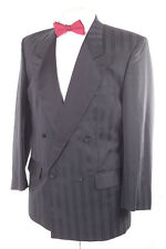 PIERRE CARDIN BLACK WOOL BLEND MEN'S STRIPED TUXEDO SUIT 38S DRY-CLEANED