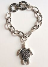 "Silver Turtle Marcasite Charm Bracelet 7-8"" Sea Life Simulated Crystal Plated"