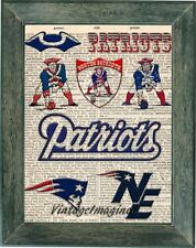 New England Patriots art print on vintage dictionary page 8x10 poster decor gift