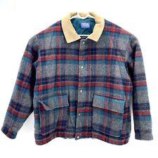 Pendleton Wool Insulated Jacket Coat Vintage Plaid Mens XL Adjustable Waist Cord