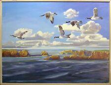 """Edward Walker """"Fresh Air Flight - Southbound"""" Original Oil Painting, birds ocean"""