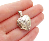Sterling Silver 15x15mm Pink Enamel Heart says Mom on it Charm