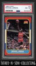 1986 Fleer Basketball Michael Jordan Rookie RC #57 PSA 8 NM-MT HOF HIGH END READ