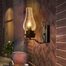 Vintage Industrial Retro Wall Light Rustic Pulley Indoor Sconce Lamp Fixture