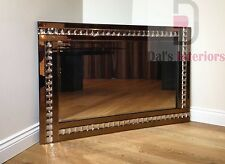 Elegant bevelled Glass Wall Mirror-bronze crystal 120cm x80cm Bedroom/Home decor