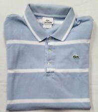 VINTAGE LACOSTE Mens Blue White Striped 3-Button Short Sleeve Polo Shirt Size 6