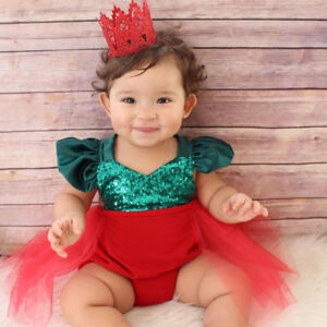 Baby Christmas Romper Dress Outfit fit 0-24 Months