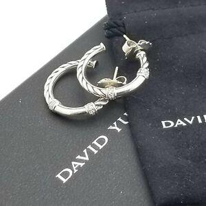 David Yurman Sterling Silver & Diamond 22'mm Classic Cable Metro Hoop Earrings