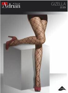 Womens Tights 20 Den Sheer Patterned Tights Floral Black Gray Brown GIZELLA