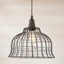 Primitive new smokey black industrial wire cage hanging light / nice