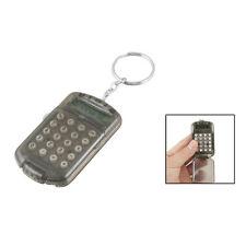 New Gray Hard Plastic Casing 8 Digits Electronic Mini Calculator w Keychain DT
