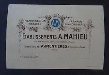 Ancienne carte de visite ARMENTIERES Filature de lin Tissage Crémage Usine
