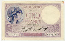 Billet banque 5 Frs VIOLET 13-07-1933 AT B.56675 SUP