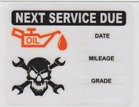 50 SKULL WRENCHES LOGO STATIC CLING OIL CHANGE REMINDER STICKERS DECALS FREE S/H