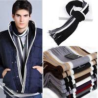 Unisex Mens Luxury Cashmere Winter Scarf Blanket Warm Wrap Striped Tassels Shawl