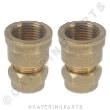 "PACK OF 2 x BRASS 10mm COMPRESSION to 3/8"" INCH BSP FEMALE FITTING PIPE ADAPTER"
