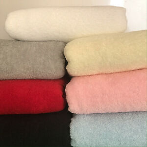 Terry Towelling, White, Blue, Pink, Cream, Grey,  Red and Black 100% Cotton