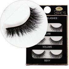 3 Pairs/Pack 3D Thick Long Black Cross Mink Hair False Eyelashes Eyelash Makeup