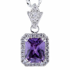 Pendant Emerald Cut Purple Amethyst 18K White Gold Plated Free Necklace Chain