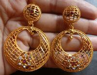 22K Gold Plated Round Chand Bali Wedding Jhumka Jhumki 4 cm Indian Earrings ./