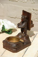 Antique hand Black forest wood carved swiss bear statue ashtray match holder