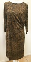 Talbots Womens Black Brown White Stretch 3/4 Sleeve Knee Length Dress size Large