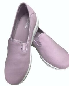 Skechers GOwalk Canvas Slip On Shoes Adorn Lavender Wide Fit US 10 W