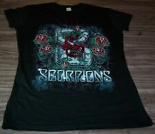 WOMEN'S TEEN VINTAGE STYLE SCORPIONS Roses T-shirt SMALL Metal Band NEW