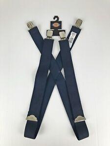 Dickies X Back Adjustable Clip On Work Suspenders, Navy Blue