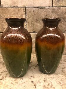 "1 Elegant Expressions Brown Green Gold 6"" Reactive Glitter Ceramic Diffuser Vase"
