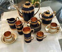 Limoges Cobalt blue and gold Coffee Set