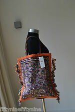 NEW RALPH LAUREN DENIM & SUPPLY ARTISAN EMBELLISHED TOTE /  TASSLE BAG BEACH BAG