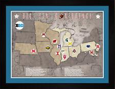 Tracking Art - Big10 Big Ten College Football Teams Stadiums Location Map, 24x18