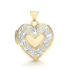 9ct Gold Yellow & White Gold Heart Shaped Photos Locket Floral Pendant Mum Gift