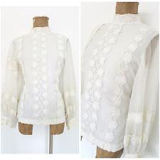 Vintage 70s Peasant Lace Top Size Medium Sheer BOHO Puff Sleeve White Shirt