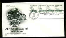 1899  LINE PAIR PLATE #1 MOTORCYCLE FDC ARTCRAFT CACHET UNADDRESSED SEVERE #1