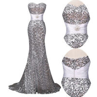 Sequins Women Mermaid Long Prom Formal Evening Gown Ball Party Bridesmaid Dress