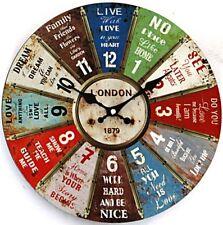 Vintage Wanduhr Wheel of Fortune mit Lebensweisheiten 29 cm Uhr Shabby Retro