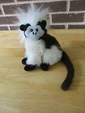 """1992 Wild Republic K&M Monkey White Gray Brown  Black Stuffed Plush 7""""Sitting"""
