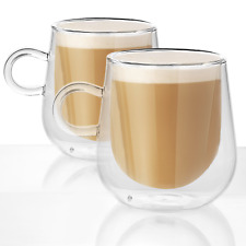 Set of 2 Double Walled Insulated 275ml Mugs Heat Resistant Coffee Glasses M&W